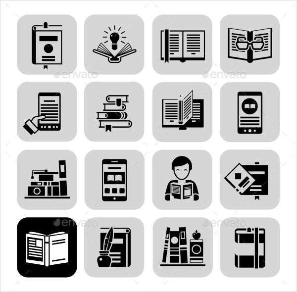 Books Icons Black Set