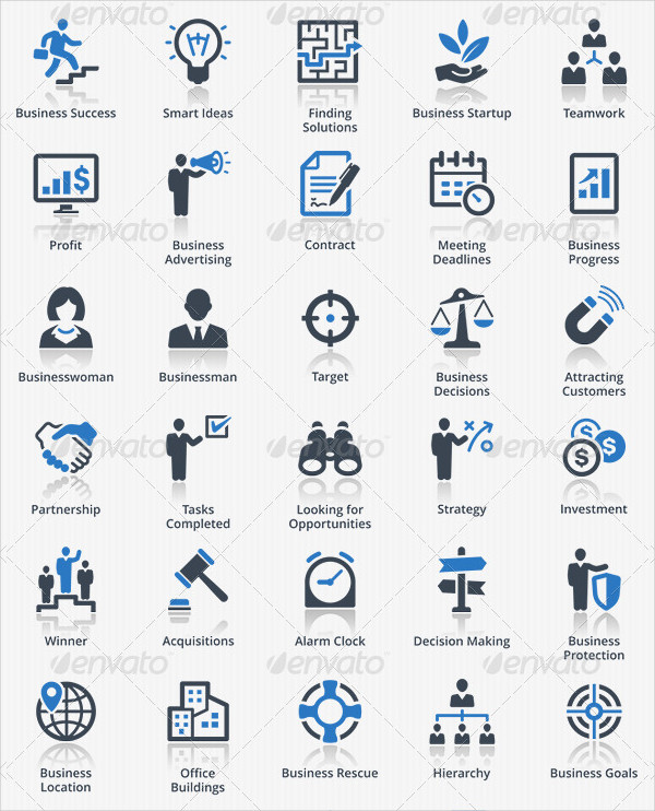 Business Icons in Blue Series