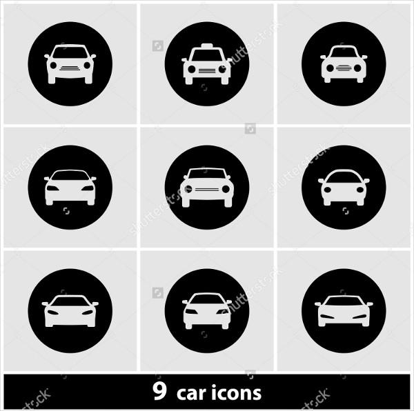 9 Button Car Icon Set