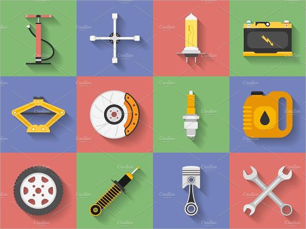 Icon Set of Car Repair Parts