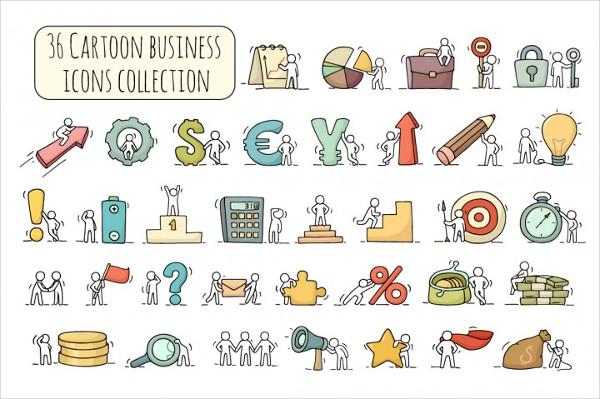 Cartoon Business Icon Set