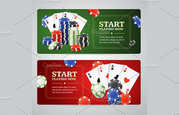 Casino Banner Set with Chips