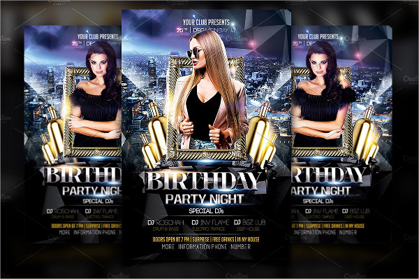 Best Birthday Party Night Flyer Template
