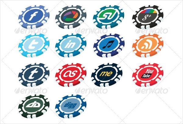 Casino Chip Social Media Button Pack