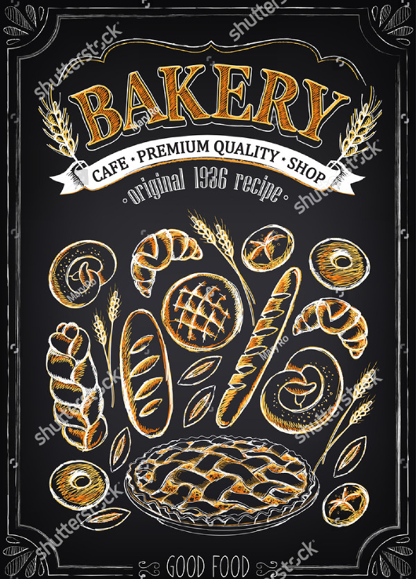 Chalk Sketch Bakery Poster Template