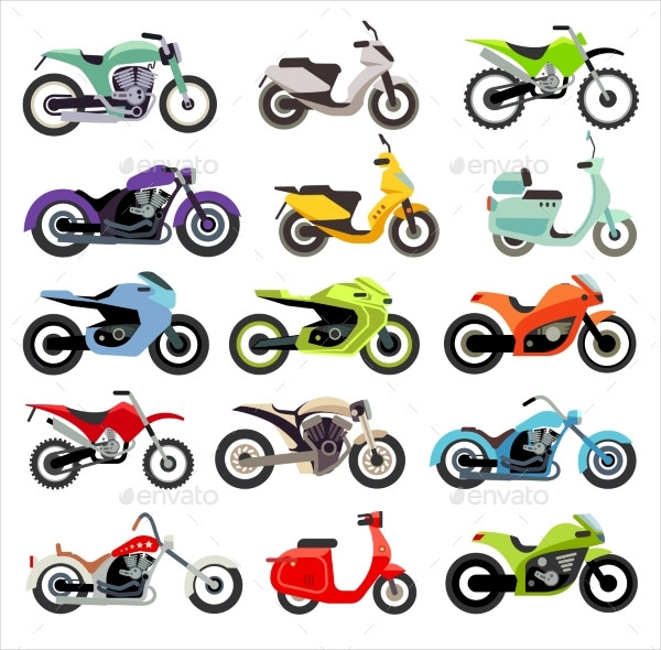 Classic Motorcycle Icon Set