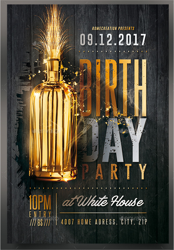 Gold Birthday Party Flyer Template