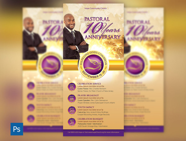 Clergy Anniversary Rack Card Template