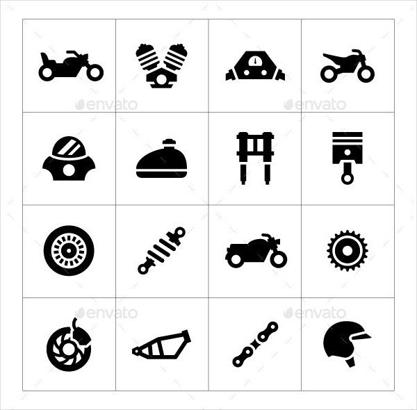 Easy to Edit Set Icons of Motorcycle