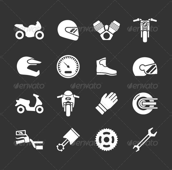 Collection Of Motor Cycle Icon