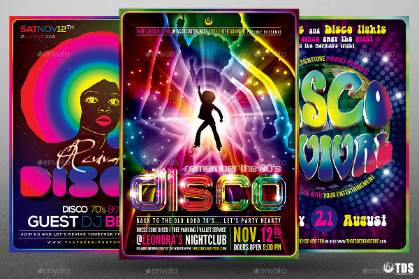 Colorful Disco Music Flyers Bundle