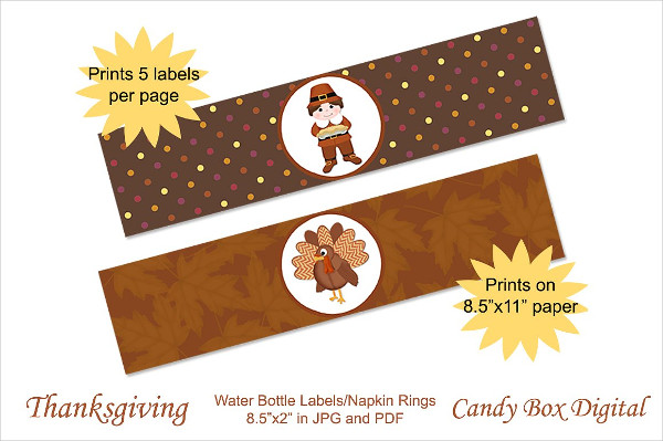 Colorful Thanksgiving Water Bottle Labels