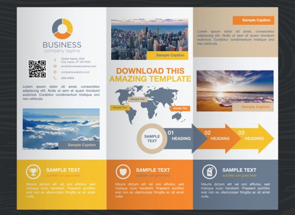 Colorful Travel Business Trifold Brochure Template Free