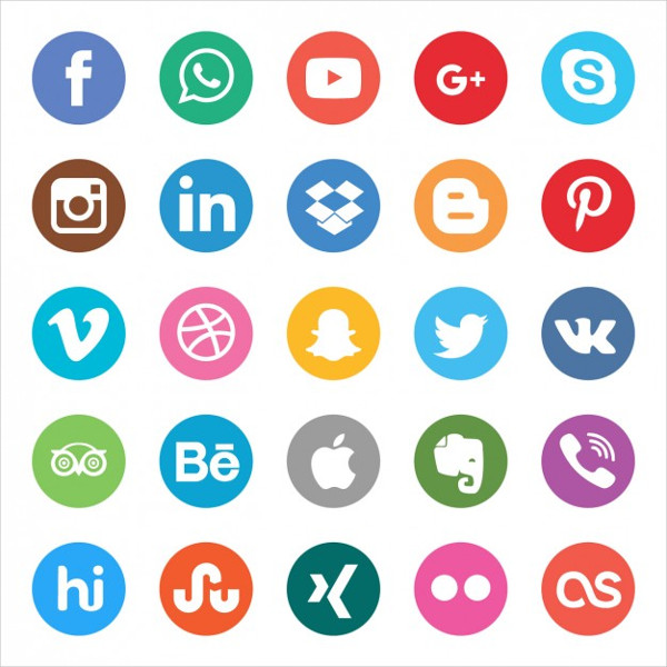 Colors Social Buttons Set Free Vector