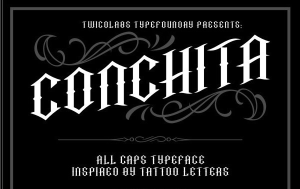 Conchita Typeface Tattoo Font