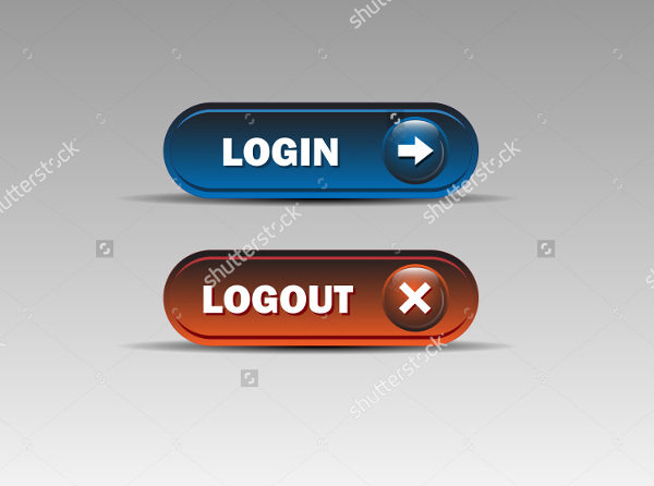 Set of Login & Logout Buttons Vector Illustration
