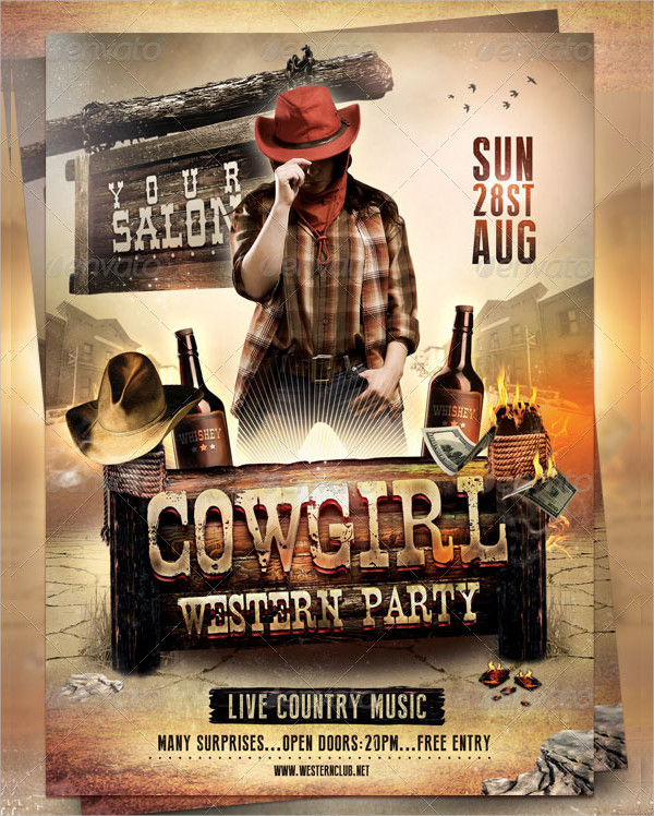 Cow Girl Western Flyer Template