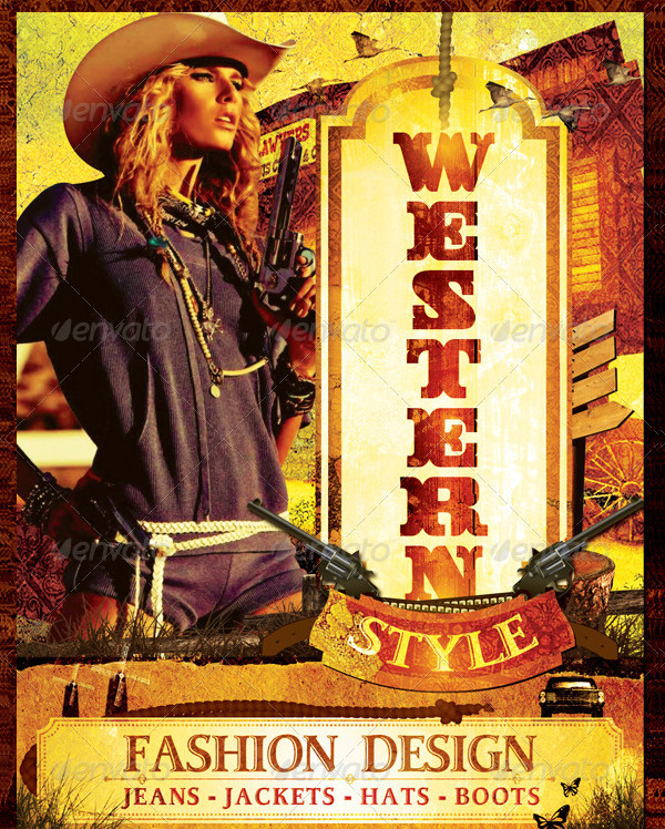 Stylish Western Flyer Template