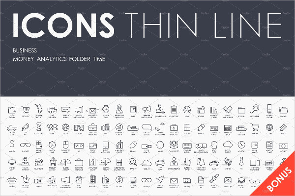 Thin Stroke Line Icons of Business