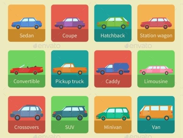 Creative Car Icons Set