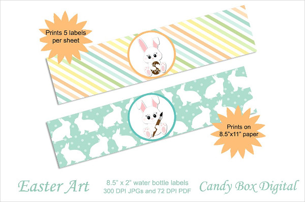 Customizable Easter Water Bottle Labels