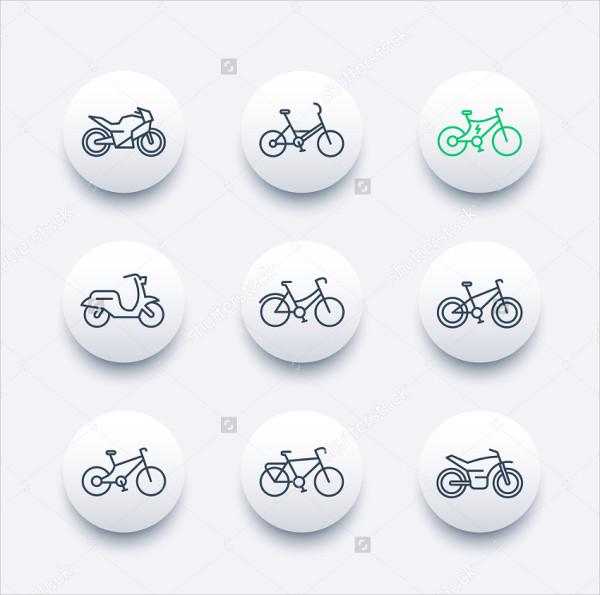 Bikes Line Icons Set