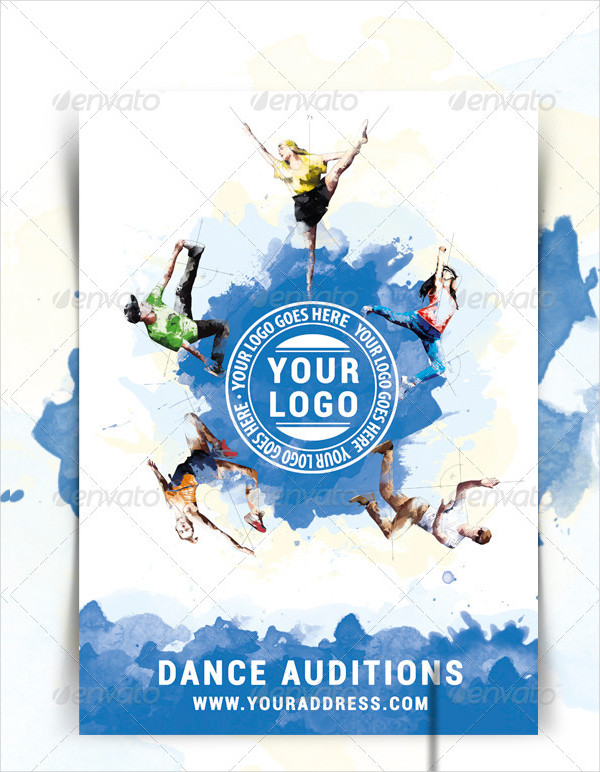 Watercolor Dance Auditions Flyer Template