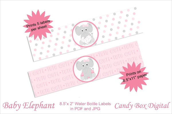 Decorative Baby Elephant Water Bottle Labels