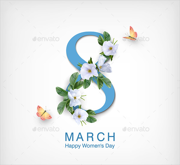 Decorative Women's Day Greeting Card Template