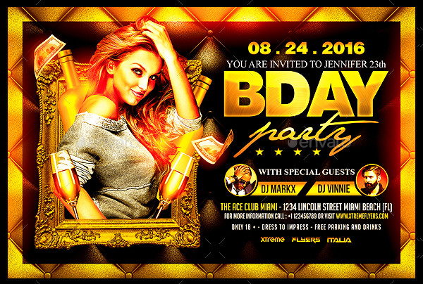 Deluxe Birthday Party Flyer Template