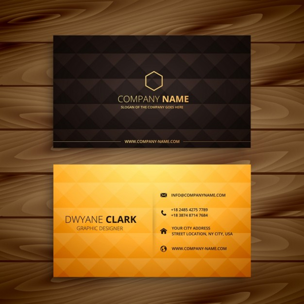 Diamond Shapes Golden Business Card Design Free