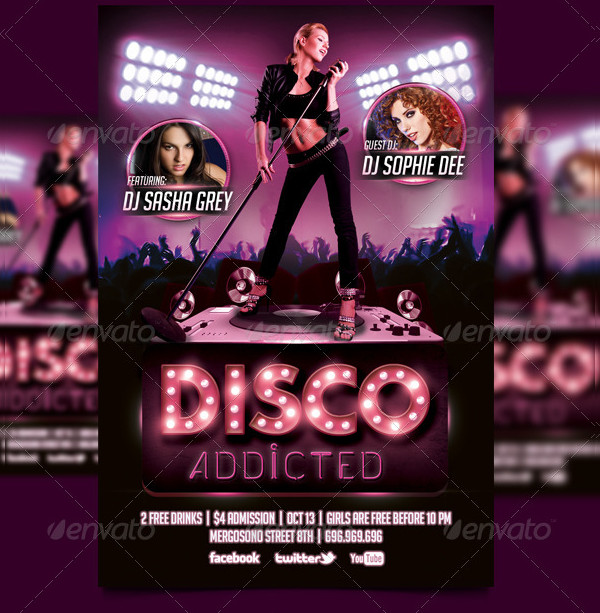 Disco Addicted Flyer PSD