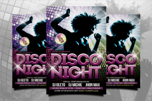 Clean Disco Night Flyer PSD Design