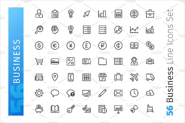 Set of 56 Business Line Icons Set