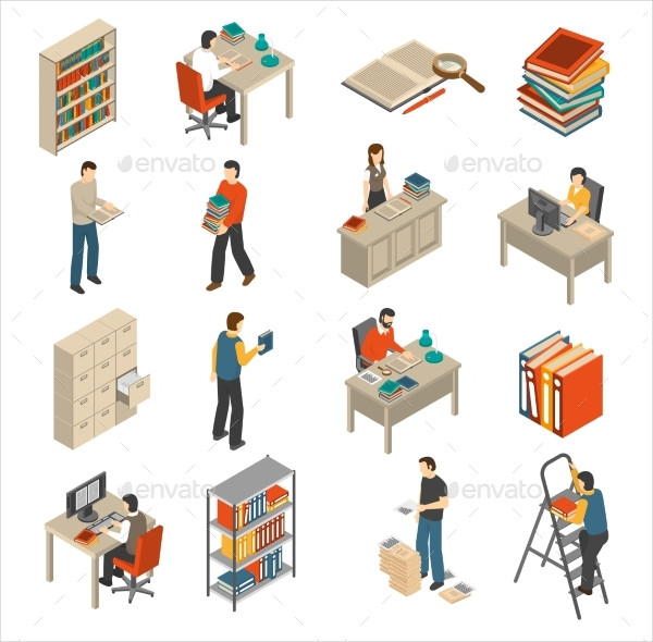 Documents Archive Library Isometric Icons