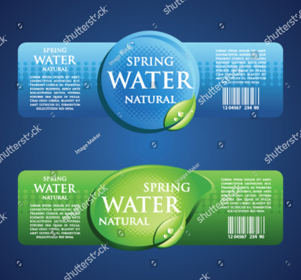 Drinking Water Bottle Label in Blue and Green