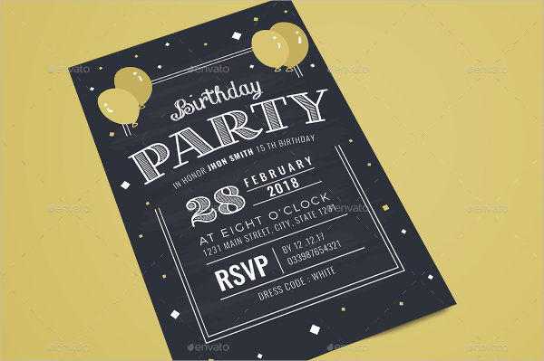 Chalkboard Birthday Party Invitation Template