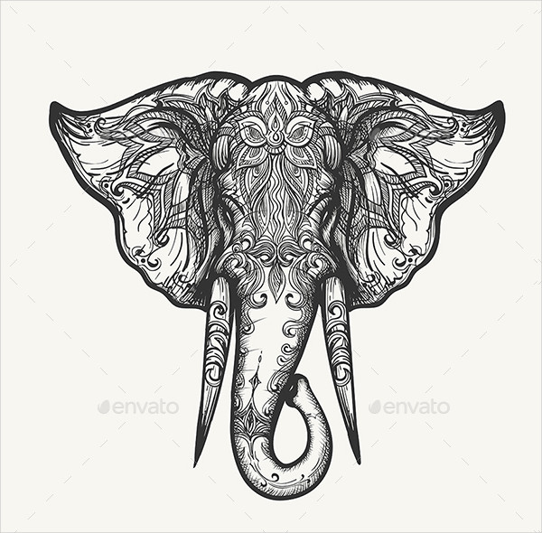 Elephant Head Drawing Download