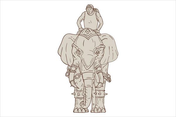 Elephant Rider Drawing