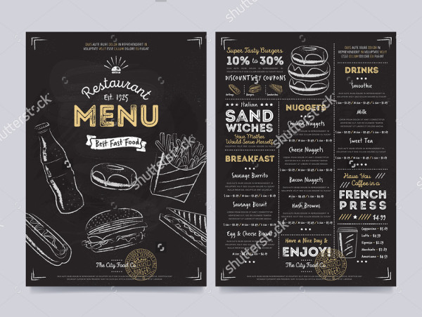 Fast Food Menu Cover Layout