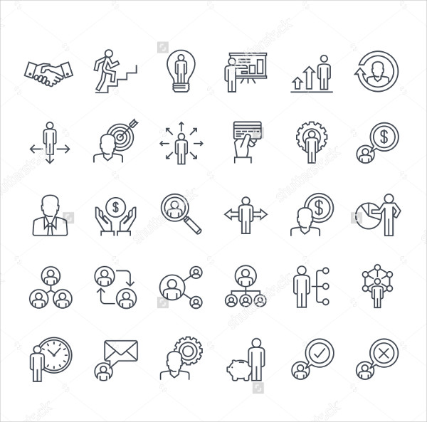 Clean Business Management Icons