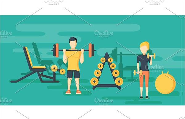 Fitness Flat Horizontal Banner Template