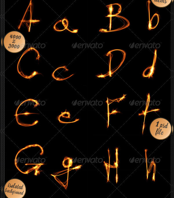 Flame Alphabet Letter Templates
