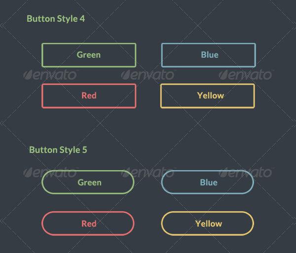 Minimal Flat Design Buttons Set