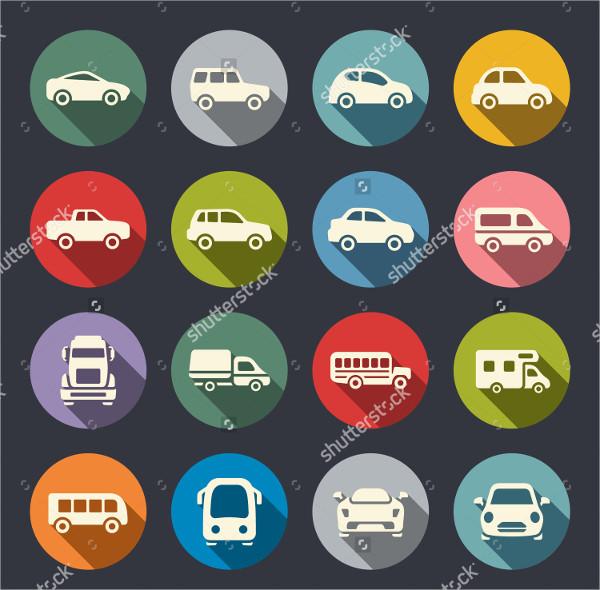 Car Flat Icons Set
