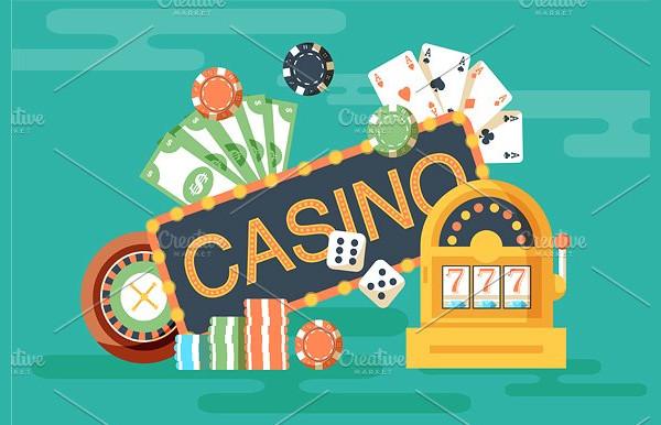 Flat Casino Horizontal Banner with Poker
