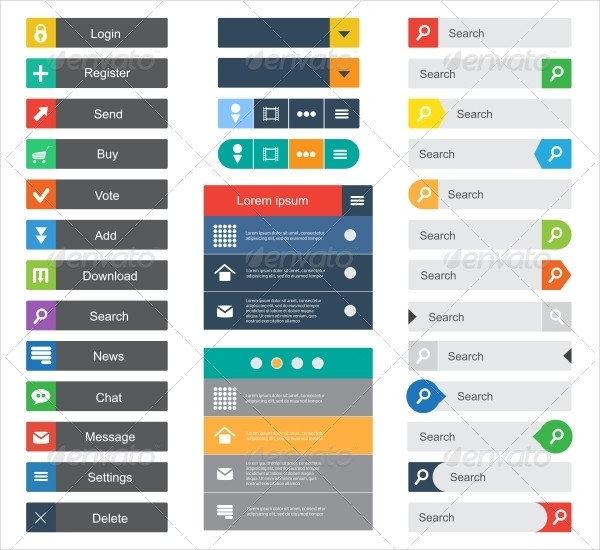 Flat Design Buttons For Website