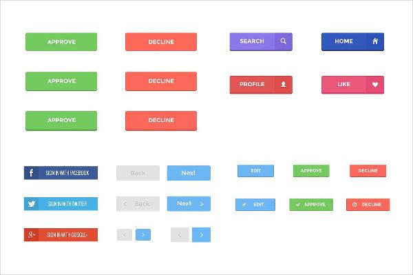 Customizable Flat Design Buttons Pack