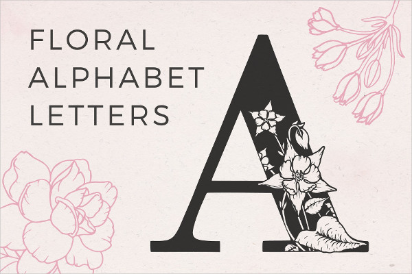 Floral Alphabet Upper Case Letters