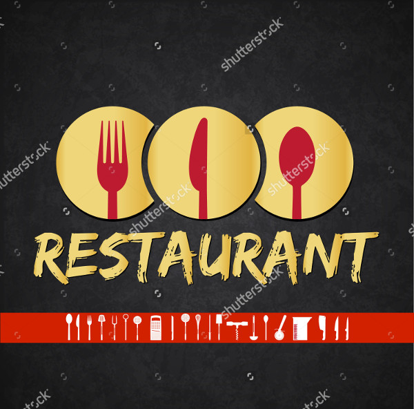 Gold & Red Logo Template for Restaurant